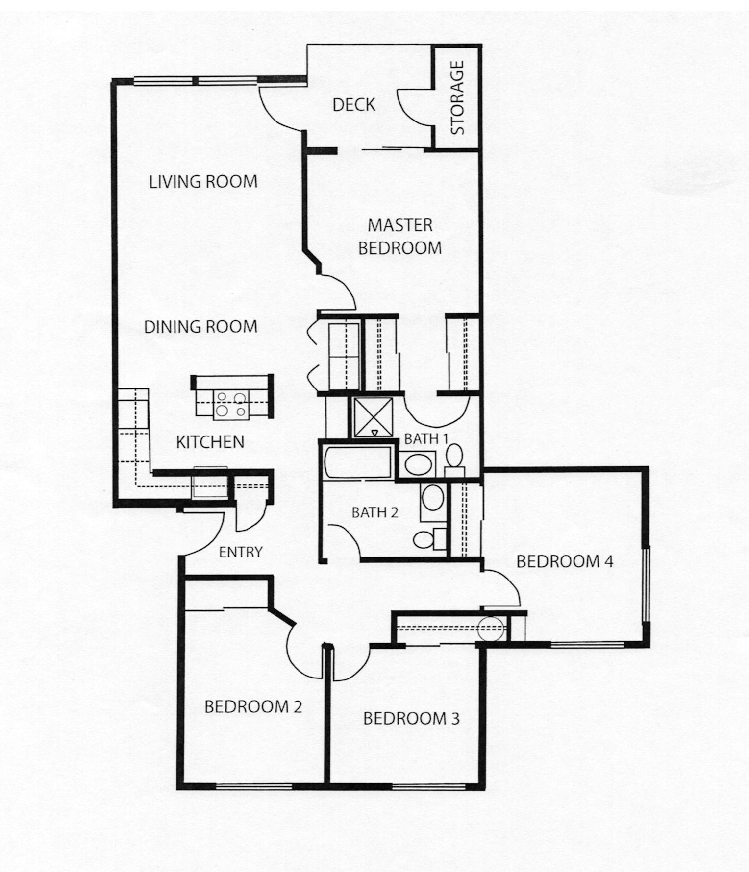 Pricing floor plans for Four bedroom apartments